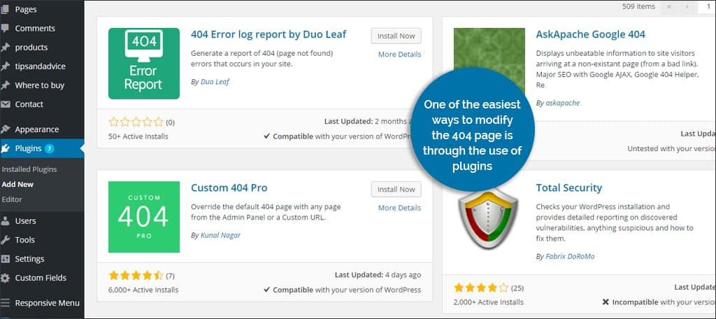 error 404 from plugin