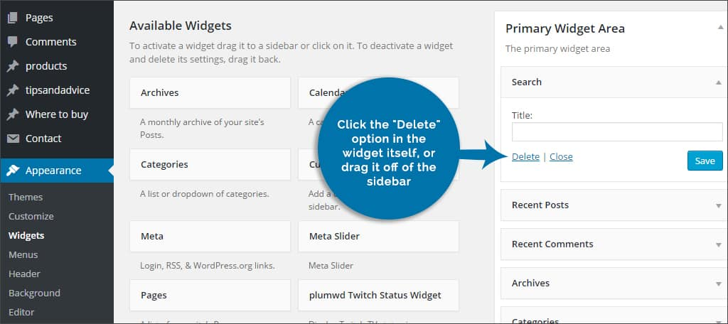 remove widget
