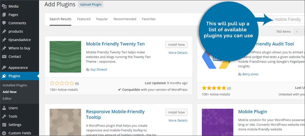installing mobile friendly plugins