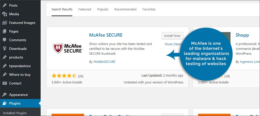 macafee plugins for you securing wordpress - mcafee - Plugins For You Securing WordPress