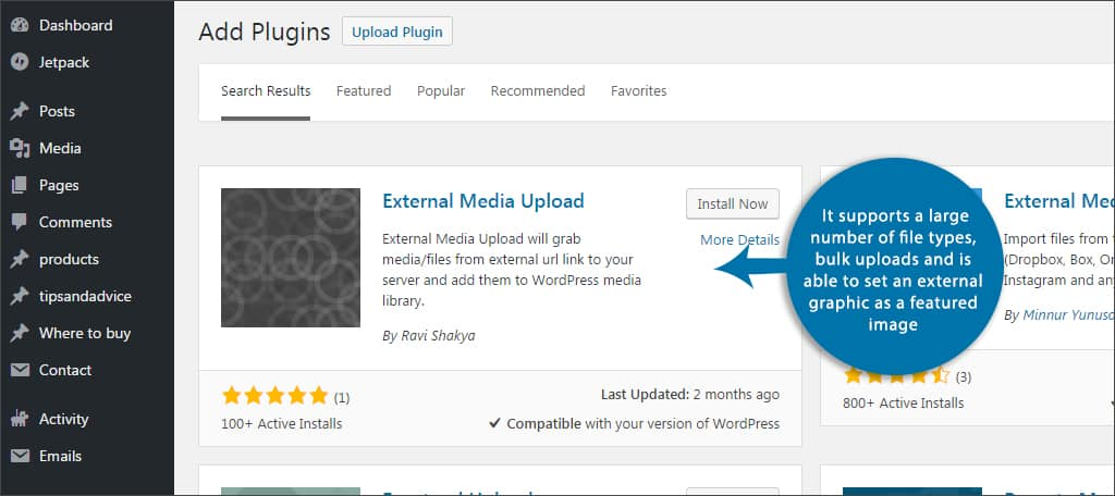 external media upload