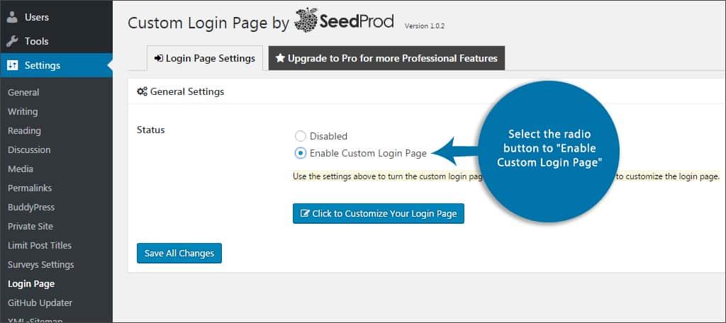 enable custom login page