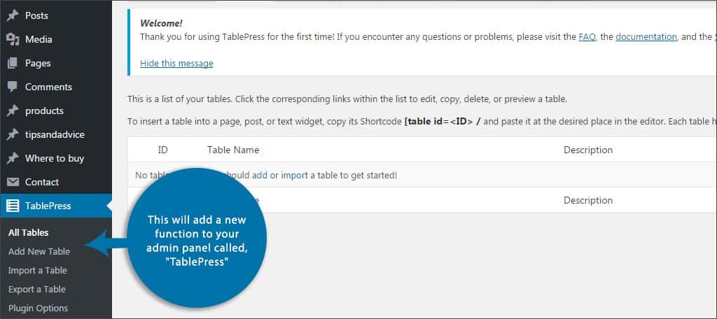 tablepress function