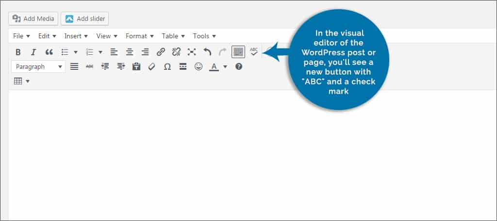 abc and checkmark in visual editor