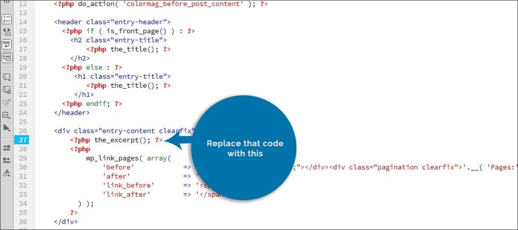 excerpt code