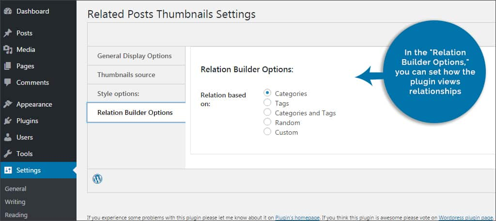 relation builder options