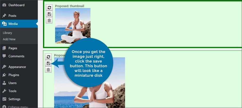 crop button save