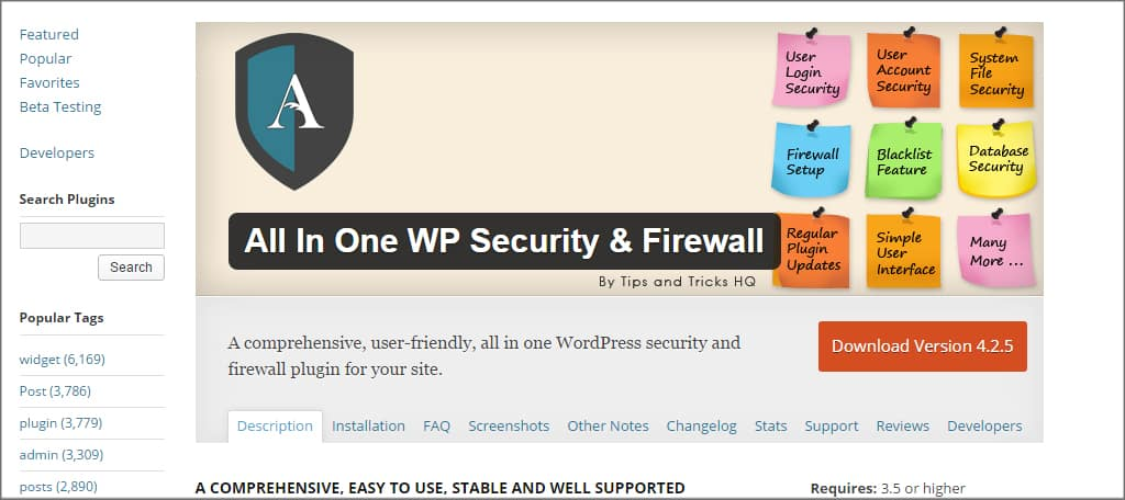 All In One WP Secuirty Plugin
