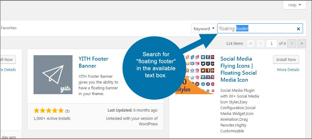 Floating Footer Search