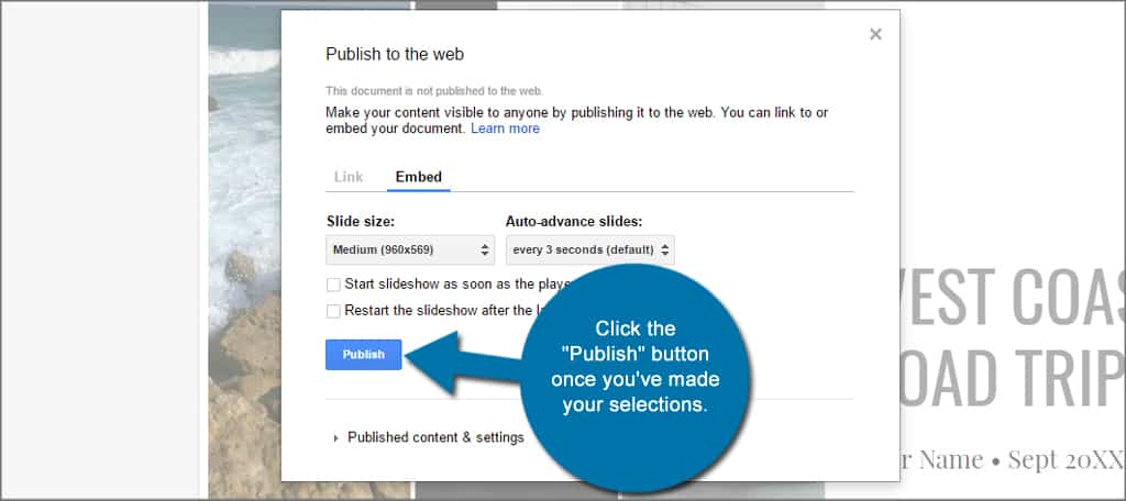 Google Slides Embed Publish