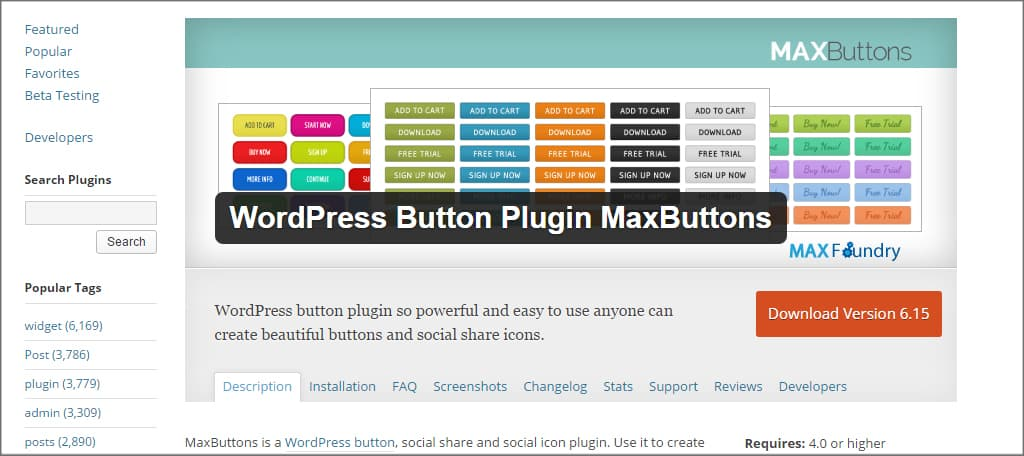 Max Buttons Plugin