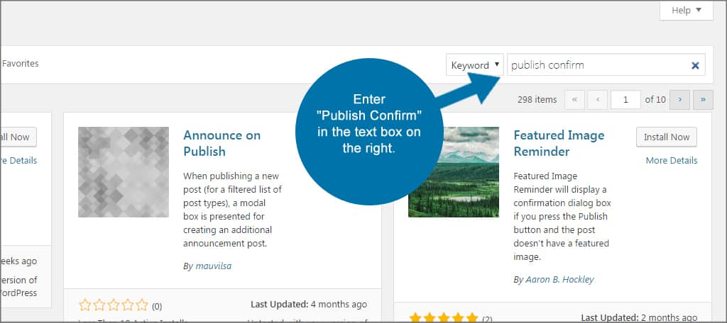 Publish Confirm Search