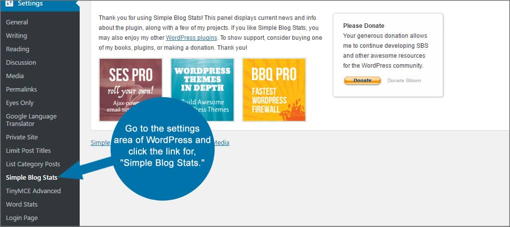 Simple Blog Stats Settings