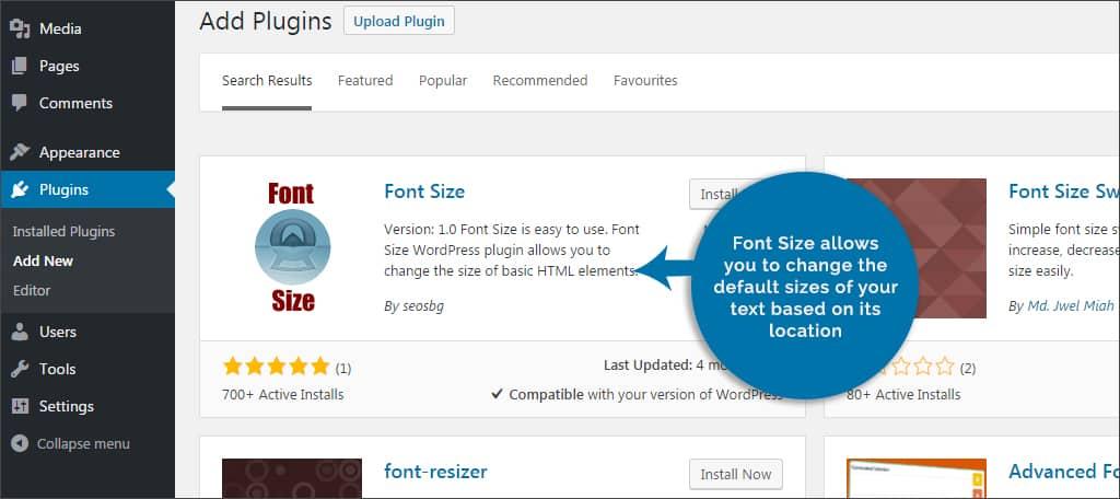 Fonts size plugin