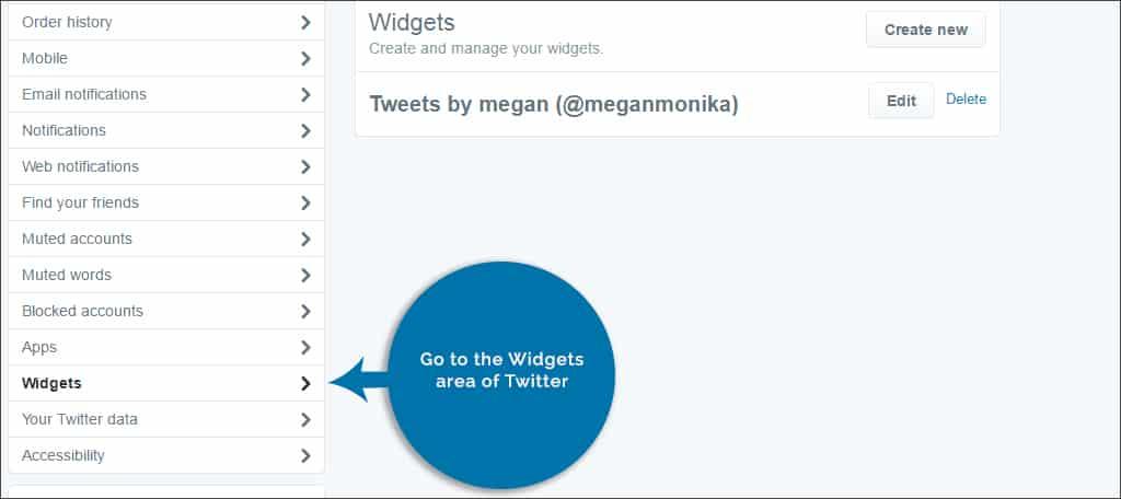 twitter widget area