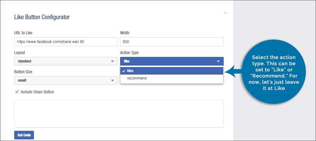select action type