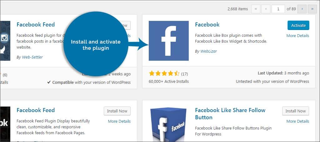 activate facebook plugin