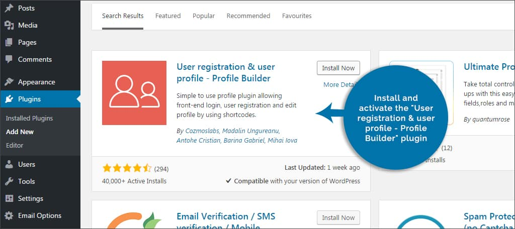 activate user registration plugin