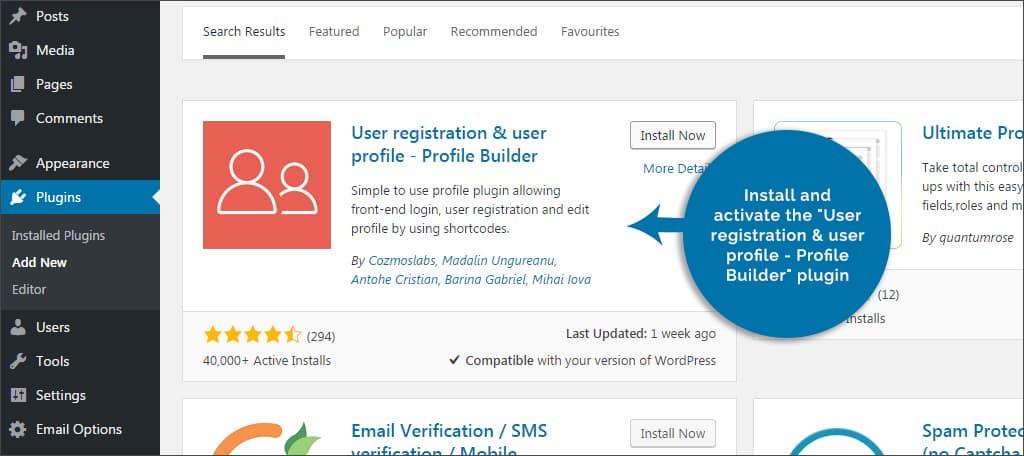 activate user registration plugin