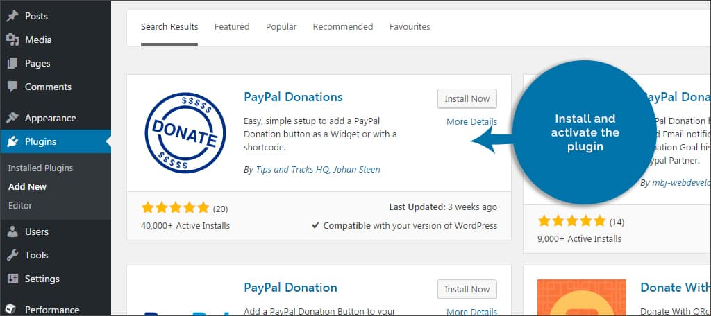 activate PayPal donations