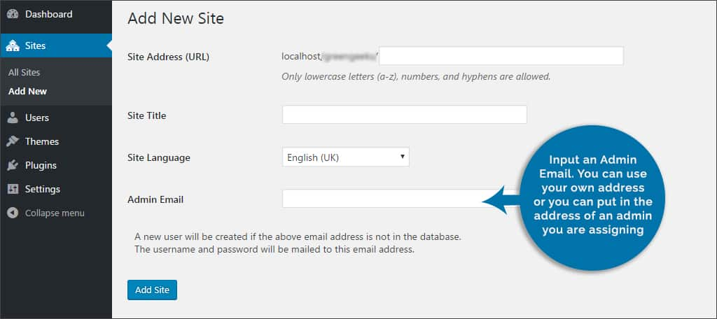 input admin email