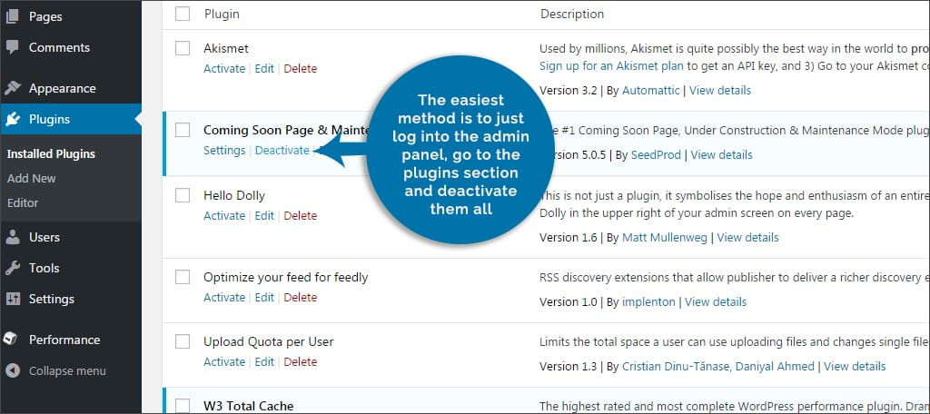admin panel disable plugins