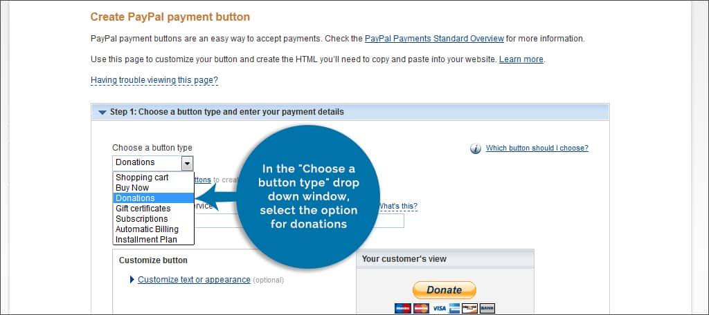 choose donation button