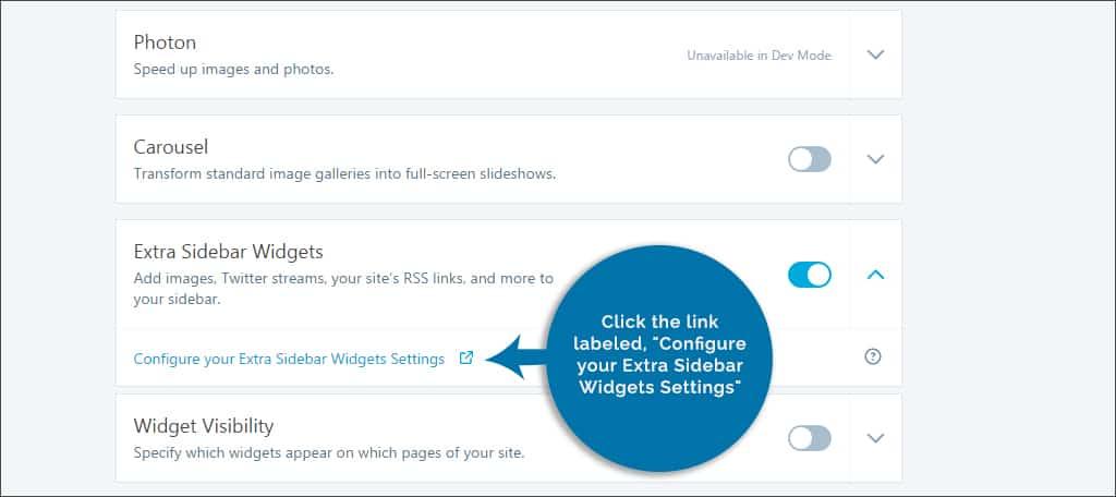 configure widgets