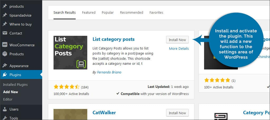 install list category posts