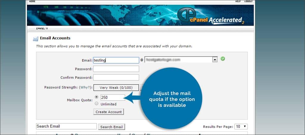 adjust email quota