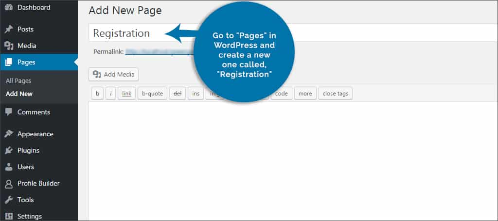 create new page called registration