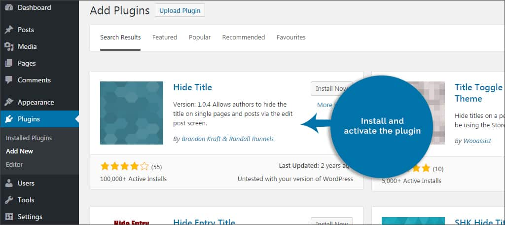 install and activate hide title plugin