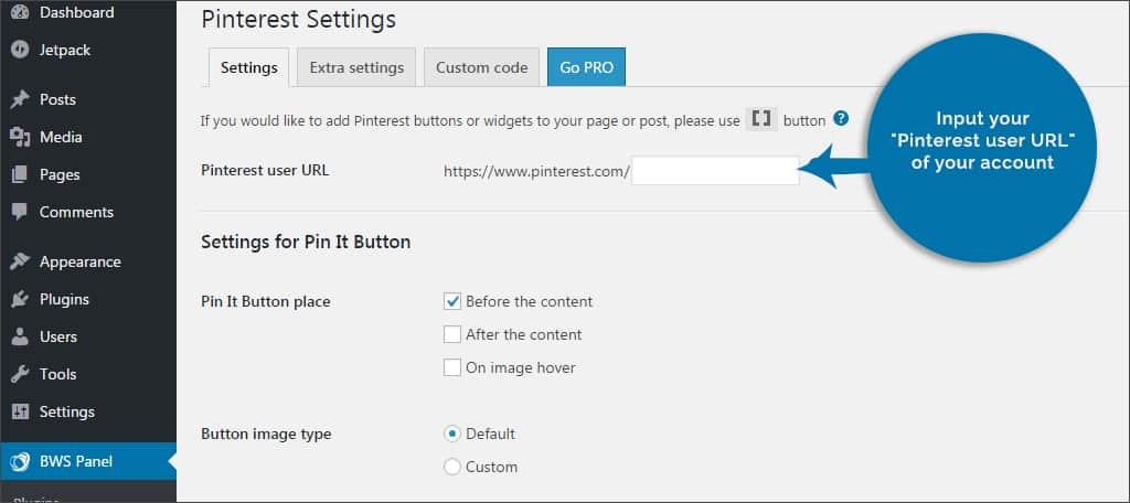 input pinterest url