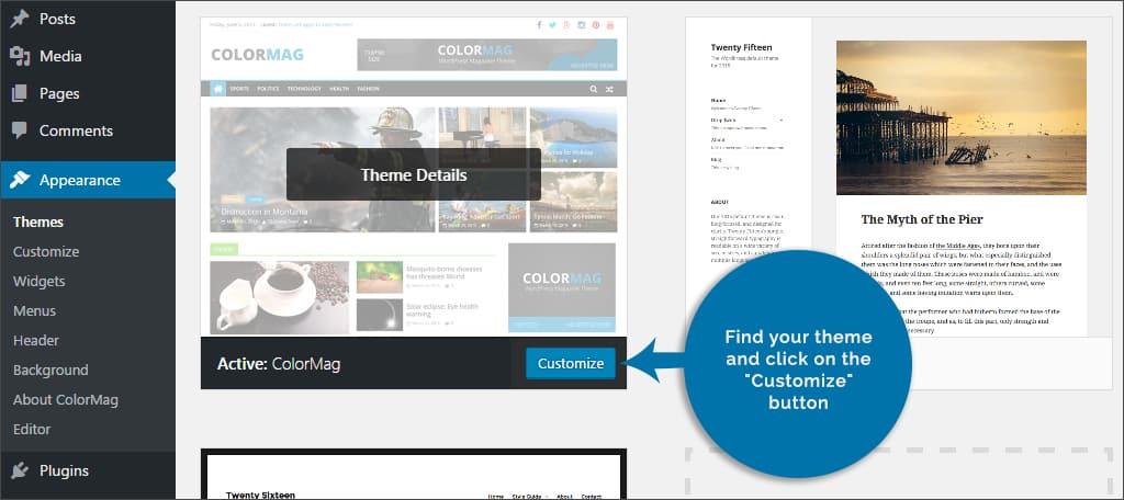 click customize button