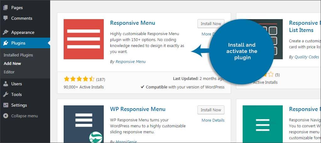 install responsive menu