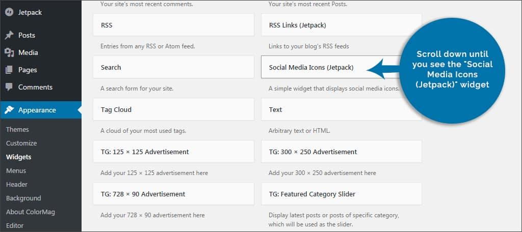 find social media widget