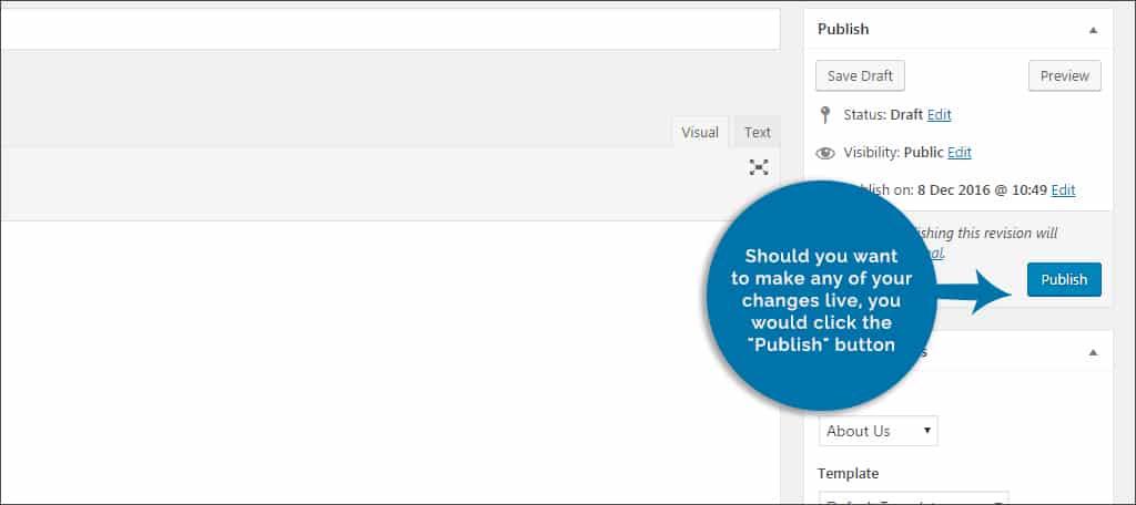 click publish button to make changes live