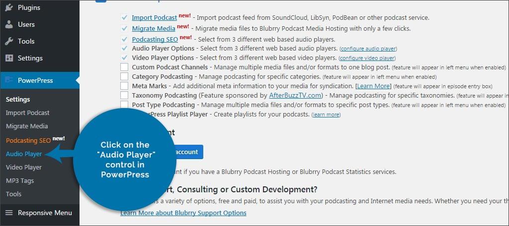 click audio player control