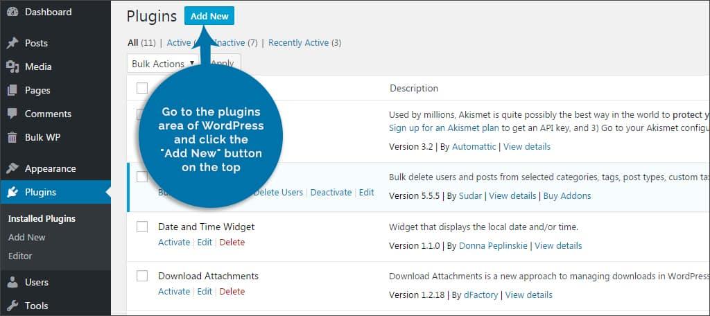 go to plugins area