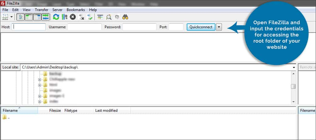 in filezilla input credential
