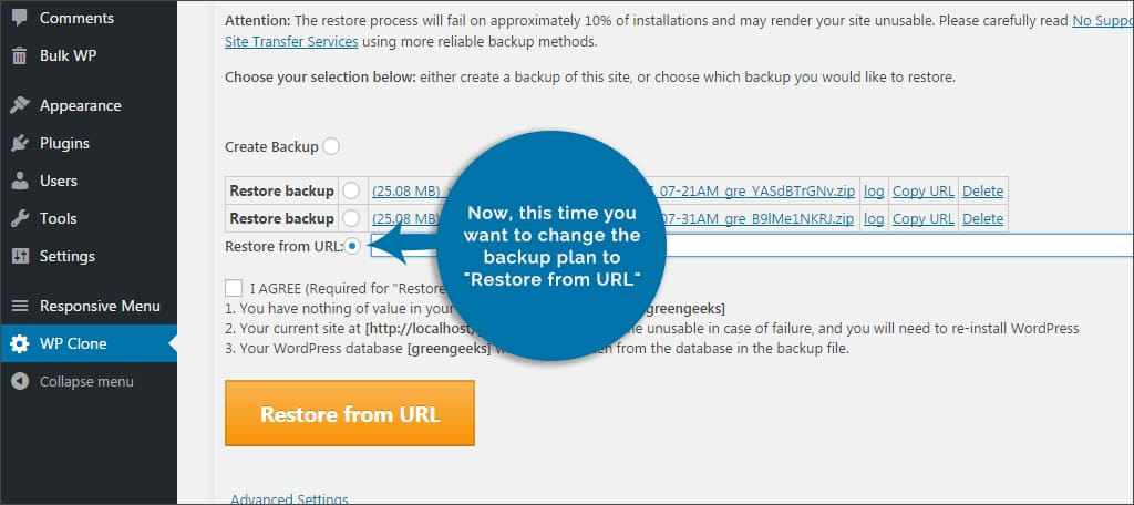restore from url
