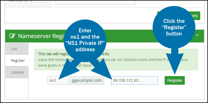 GreenGeeks dashboard domains nameservers register step 2