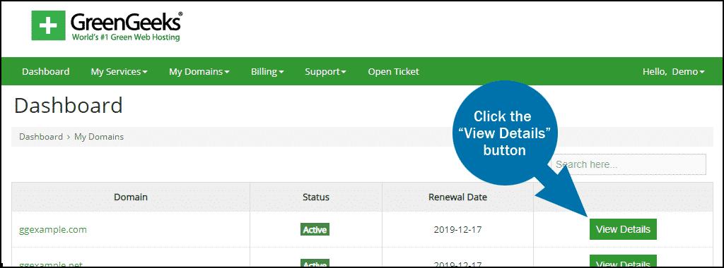 GreenGeeks dashboard domains view details