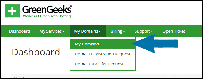 GreenGeeks dashboard domains