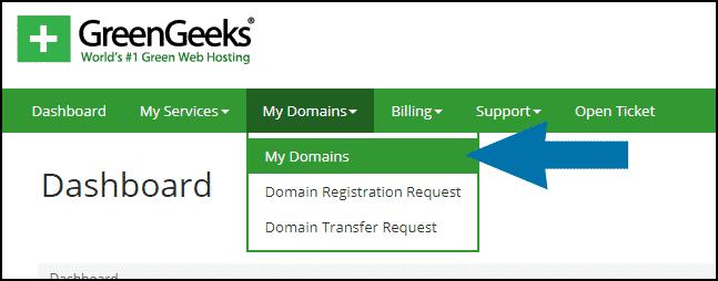 GreenGeeks dashboard domains