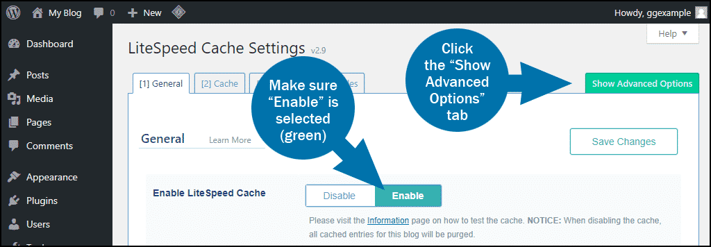 WordPress plugin LiteSpeed Cache step 2