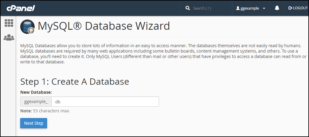 cPanel create mysql database step 1