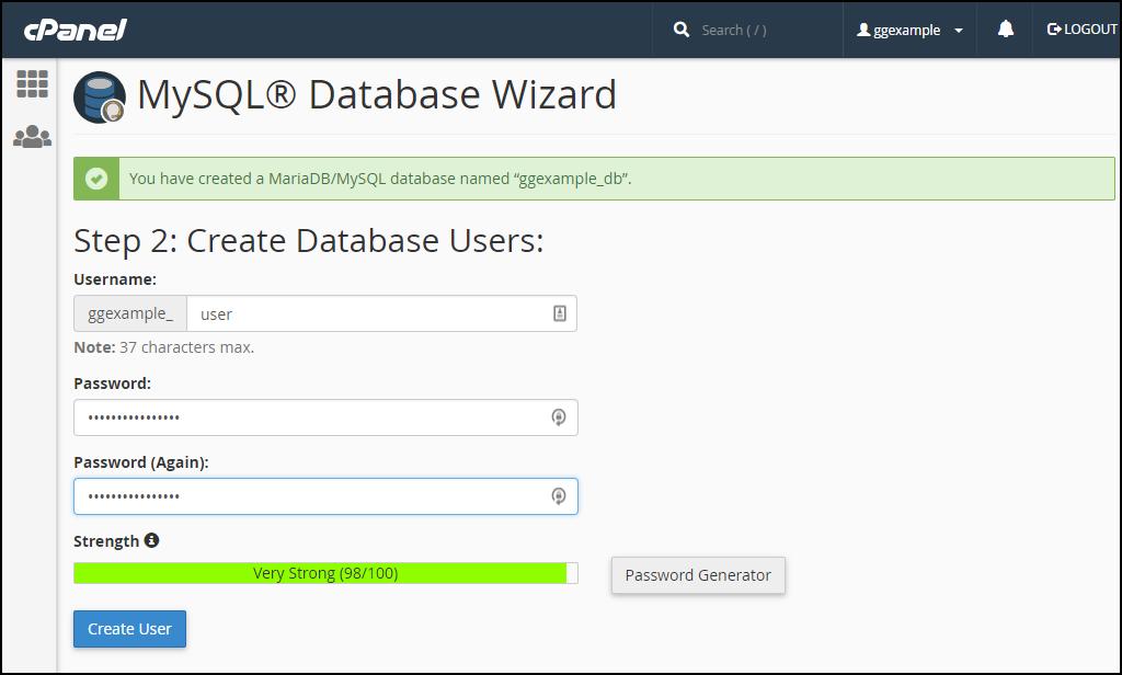 cPanel create mysql database step 2