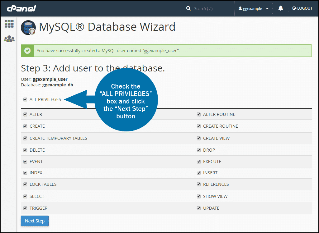 cPanel create mysql database step 3