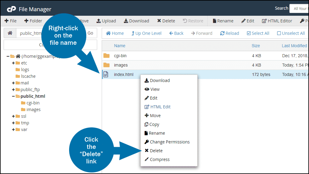 cPanel file manager delete file step 1